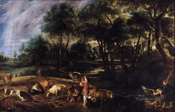 landscape with cows and wildfowlers Peter Paul Rubens Oil Paintings